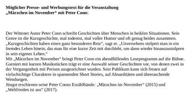 Märzchen im November – Text